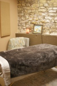 Closeup of massage bed